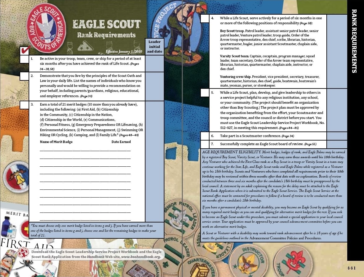 100 Eagle Workbook – Eagle Scout Requirements Worksheet